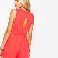 ASOS Drop Armhole Jersey Playsuit with Pom Poms