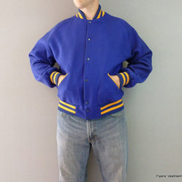 Blue and Yellow Varsity Jacket School Letterman Jacket 100% Wool Mens L Wool Jacket Mens 44