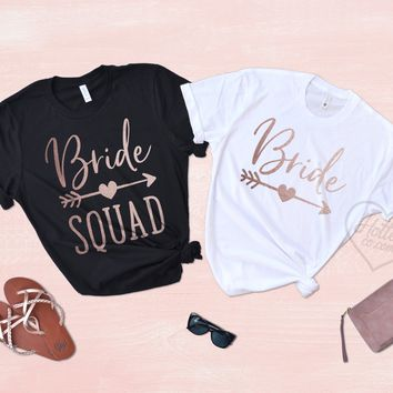 Bride and Bride Squad Bachelorette Party Shirts