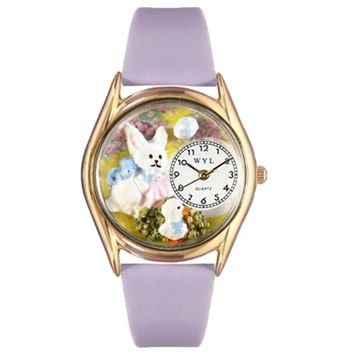 SheilaShrubs.com: Whimsical Women's Easter Bunny Lavender Leather Watch C-1220008 by Whimsical Watches: Watches