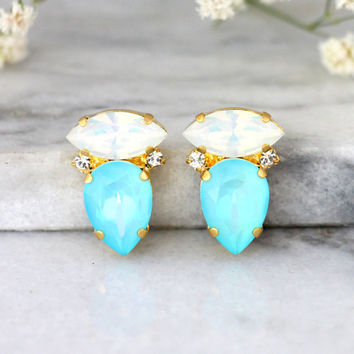 Blue Sky Earrings, Bridal Light Blue Earrings, Swarovski Crystal Aquamarine Earrings, Bridesmaids Earrings, Gift For Her, White Blue Studs