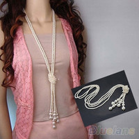 Fashion White Artificial Pearls Long Chain Charms Necklace
