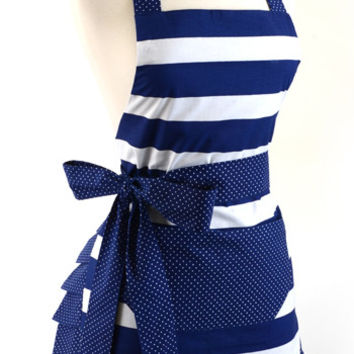 Women's Original Nautical Navy Flirty Apron