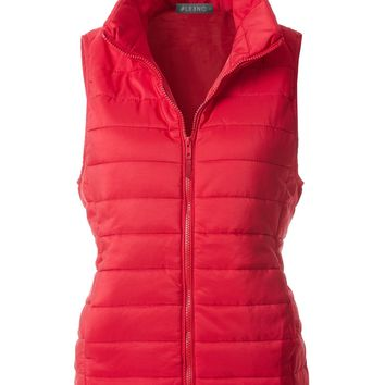 LE3NO Womens Lightweight Fully Lined Quilted Puffer Sleeveless Vest with Pockets