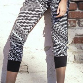 Black & White Tribal Print Joggers