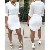 Casual V-Neck White Drawstring Waist Half Sleeve Dress For Women | Kitty's Clawset