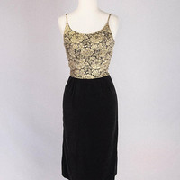 Vintage 1960s Cocktail Dress Black and Gold Brocade Velvet Skirt Bombshell Hourglass Curves