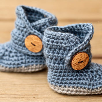 Crochet Baby Booties - Baby Boots - Blue and Grey Baby Shoes Wooden Button - Blue Jean Denim - UGG Inspired