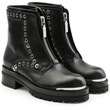 Stud Flat Embellished Leather Ankle Boots - Alexander McQueen | WOMEN | KR STYLEBOP.COM