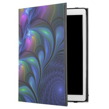 Colorful Luminous Abstract Blue Pink Green Fractal iPad Pro Case