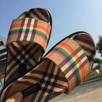 Burberry classic tide brand rainbow check sandals flat bottom slippers