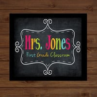 Chalkboard Teacher Sign Back to School Custom Personalized - Classroom Decor/Gift - Wooden Sign  Plaque Holiday Decor Gift Sign Wood Art