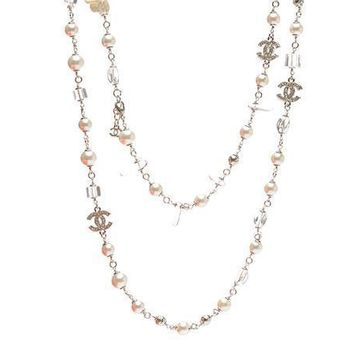 Chanel Woman Fashion Logo Pearls Necklace For Best Gift-18