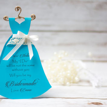 Will You Be My Bridesmaid Card  Dress Bridesmaid Proposal Blue Cards Maid of Honor Bridal party