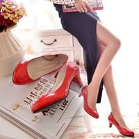 Fashion Red Woman Low Heel Pumps Female Sweet Casual Pump Shoes Thin Heels Red Ladies Soft Spring Summer OL Office Work Shoes