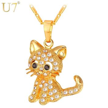 U7 Brand Cute Cat Pendants & Chain Gold/Silver Color Rhinestone Crystal 2017 Hot Animal Women Jewellery Cat Necklaces Gift P1027