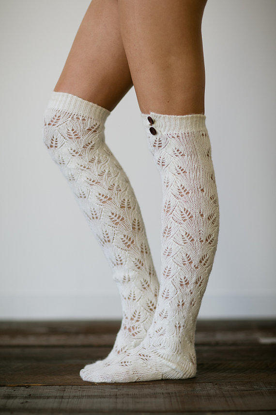 Knitted Boot Socks Women S Long Over The From Three Bird Nest