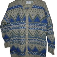 Segrets Sun Prints Womens Vintage Wool Cardigan L Large Sweater