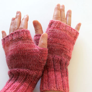 Dark pink Arm Warmer Knitting Fingerless Gloves / Batik colors / Pink color / Arm Mittens  / Valentines days Spring fashion