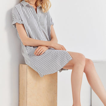 Ecote Yarn Dyed Button-Down Shirt Dress | Urban Outfitters