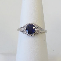 Vintage Antique 14k White Gold 1.10ct Blue Sapphire And Diamond Engagement Ring 1920's Art Deco