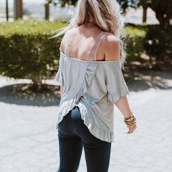 Solar Ruffle Off The Shoulder Top - Gray