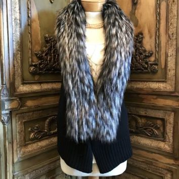 FAUX FUR FOX COLLAR SWEATER CARDIGAN VEST BY LASEINE
