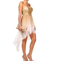Oceana-Ivory/Bronze Homecoming Dress