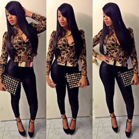 Leopard Print Plunging Zippered Blouse