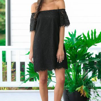 For The Occasion Black Off-The-Shoulder Dress