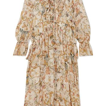 Zimmermann - Ruffled printed silk-georgette midi dress