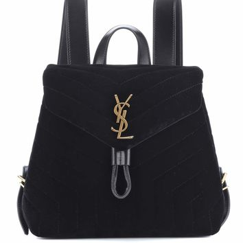 Small Loulou velvet backpack