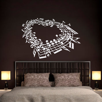 Music Note Heart Wall Decal Bedroom- Love Wall Decal Music Wall Art Bedroom Living Room Family Home Decor Interior Design Music Gifts C124