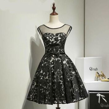Black Short Dress A line Dresses Applique Sheer Cap Sleeve Evening Gown