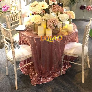 LQIAO 120in Round Sequin Tablecloths for Weddings Party Birthday Gold Silver Champagne Table Cloth Decoration Bling Table Cover