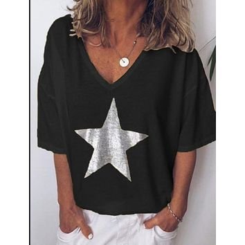 2019 New Fashion T shirt Women Sequins V-Neck Five-pointed star Tops Tees Female Short Sleeve Street Ladies Plus size code S-5XL 1