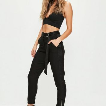 Missguided - Black Satin Side Zip Hem Cigarette Trousers