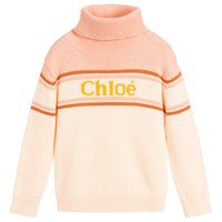Girls Pink Turtle Neck Logo Sweater