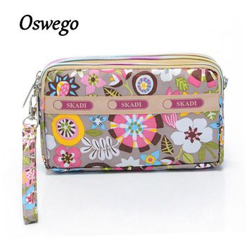 Oxford Cloth Women Wallet Three-layers Colorful Printing Zipper Clutch Ladies Large Capacity Purse Organizer Bag with Hand-strap