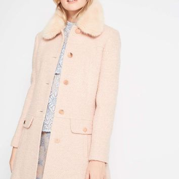 Blush Faux Fur Collar Coat
