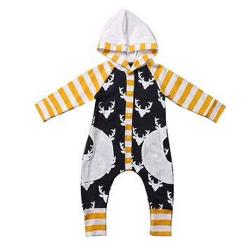 Spring Autunm Pattern Hooded Baby Rompers Newborn Clothing Cotton Long Sleeve Jumpsuits Boys Girls Outerwear Costume