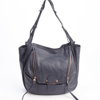 Midnight Blue Leather Zoey Shoulder Bags