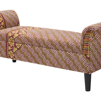 Kantha Roll-Arm Bench, Maroon/White, Entryway Bench