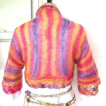 Pastel mohair sweater, silk mohair hand knit shrug, luxury fine knitwear