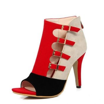 Open Toe Buckle Strap High Heels Zip Stiletto
