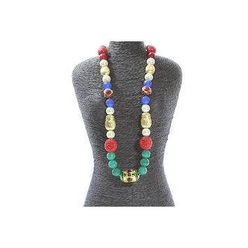 Multicolor Crystal Beaded Pearl Antique Gold Fashion Jewelry Necklace