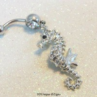 Bellybutton ring, cute naval ring with cute crystal seahorse 14 gauge