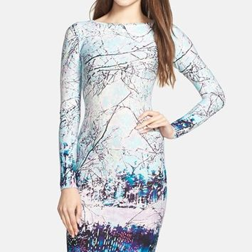 BCBGMAXAZRIA 'Voletta' Winter Print Jersey Body-Con Dress