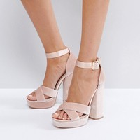 Faith Blush Velvet And Satin Platform Sandals at asos.com