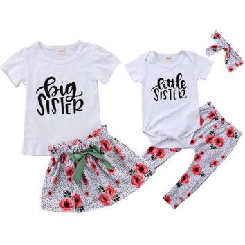 Big Sister Little Sister Outfit Red floral